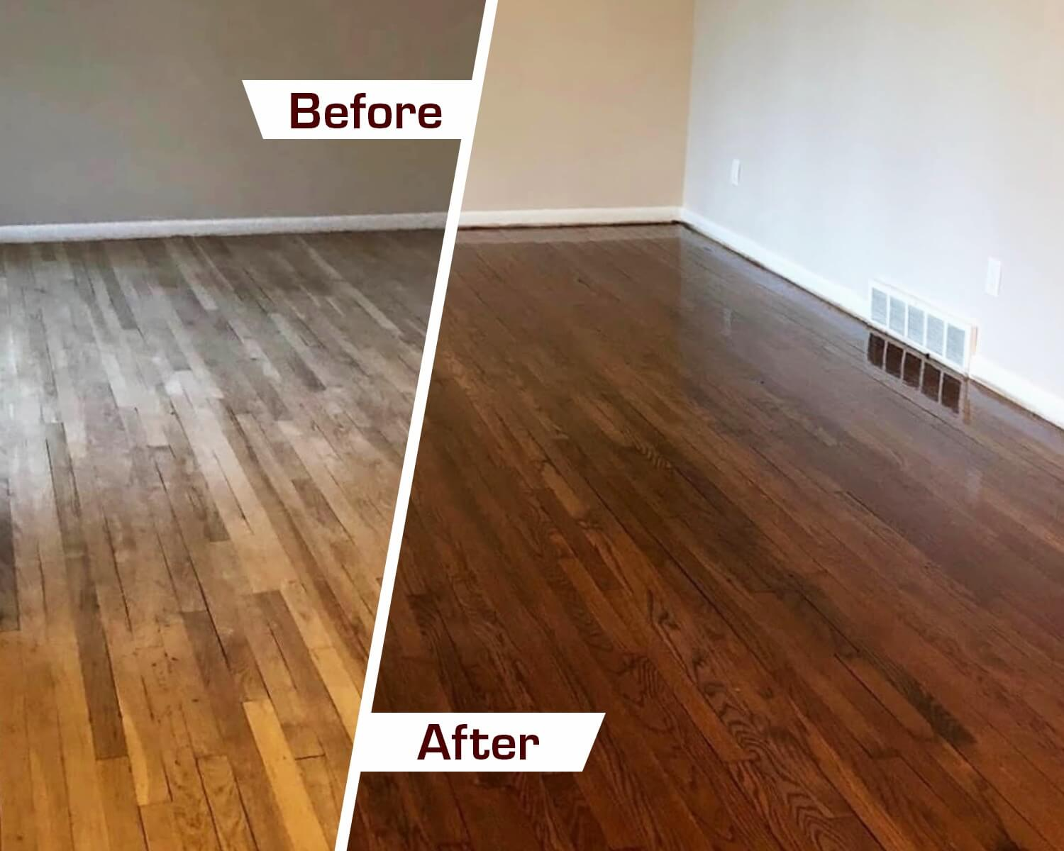 before and after wood floor resfinishing in San Diego, CA