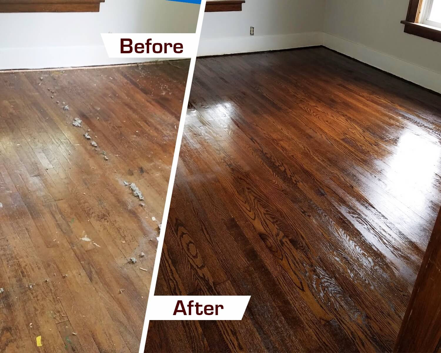 before and after a wood floor refinishing project
