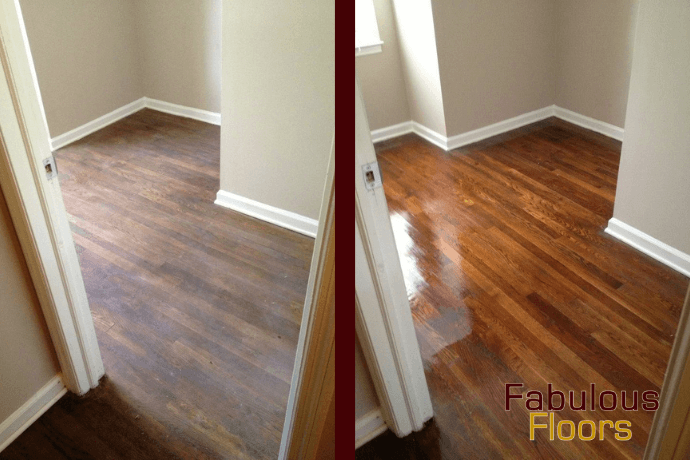 before and after hardwood floor refinishing in national city, ca