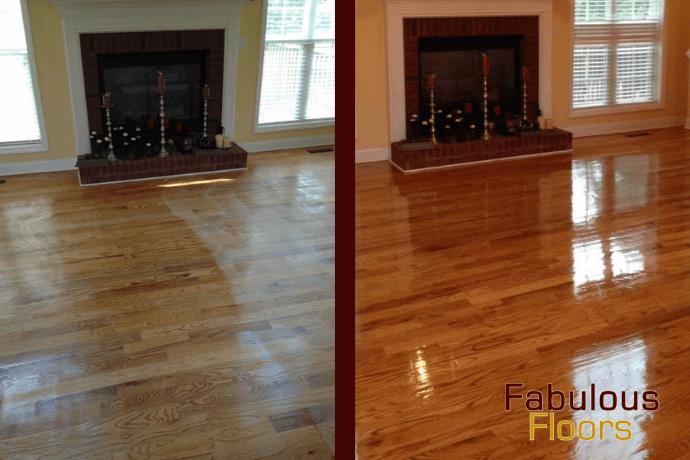 before and after hardwood floor refinishing in encinitas, ca