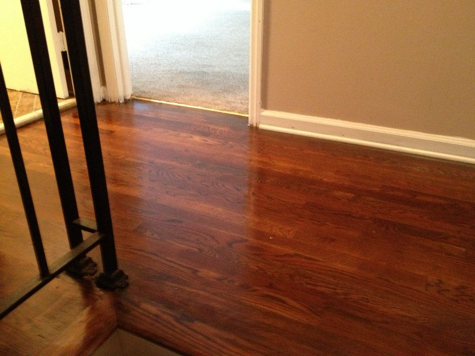 A hardwood floor after being refinished